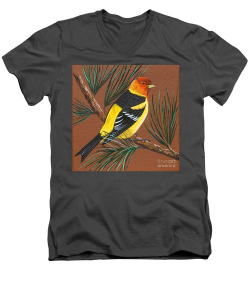 Men's V-Neck T-Shirt featuring the painting Western Tanager by Jennifer Lake