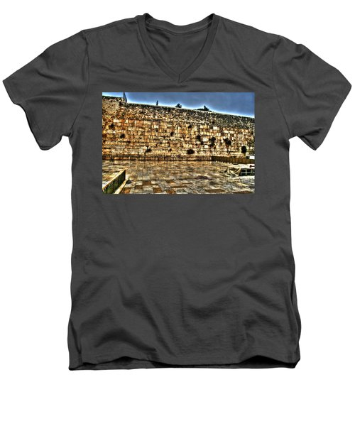 Men's V-Neck T-Shirt featuring the photograph Western Wall In Israel by Doc Braham