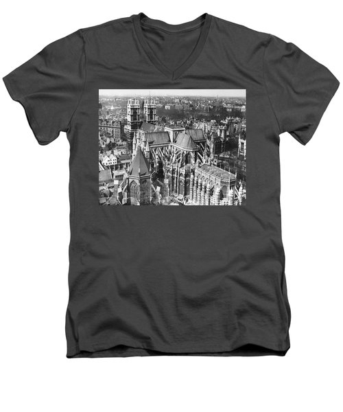 Westminster Abbey In London Men's V-Neck T-Shirt by Underwood Archives