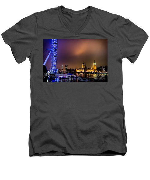 Westminster And Eye Night Glow Men's V-Neck T-Shirt