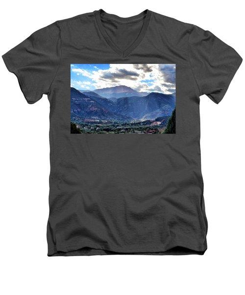 Westside Colorado Springs Men's V-Neck T-Shirt by Clarice  Lakota