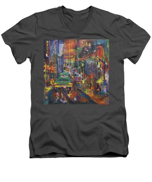 Wet China Lights Men's V-Neck T-Shirt by Leela Payne