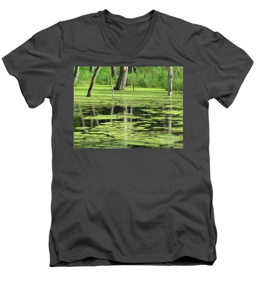 Men's V-Neck T-Shirt featuring the photograph Wetland Reflection by Ann Horn