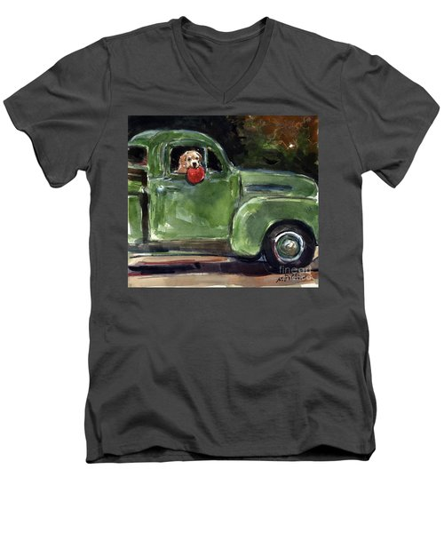 Men's V-Neck T-Shirt featuring the painting Wham-o by Molly Poole
