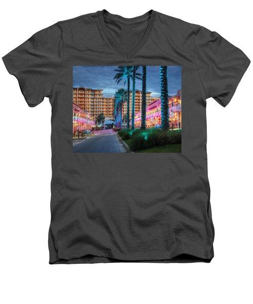 Wharf Blue Lighted Trees Men's V-Neck T-Shirt by Michael Thomas