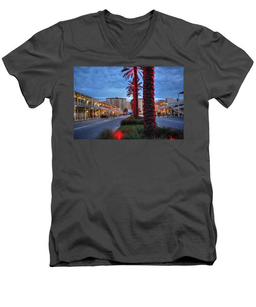Men's V-Neck T-Shirt featuring the digital art Wharf Red Lighted Trees by Michael Thomas