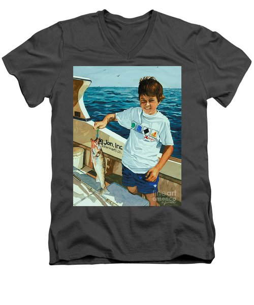 What A Catch Men's V-Neck T-Shirt by Barbara Jewell