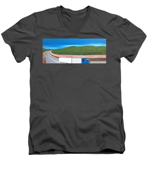 Men's V-Neck T-Shirt featuring the painting What Happened To My Homeland by Tim Mullaney