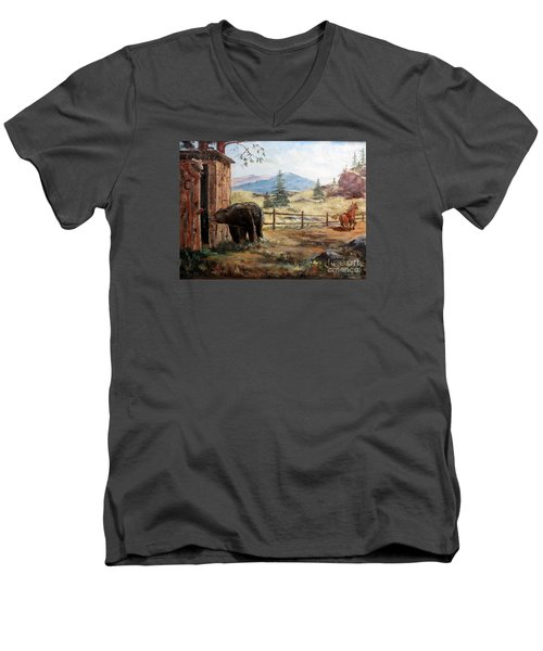 Men's V-Neck T-Shirt featuring the painting What Now by Lee Piper