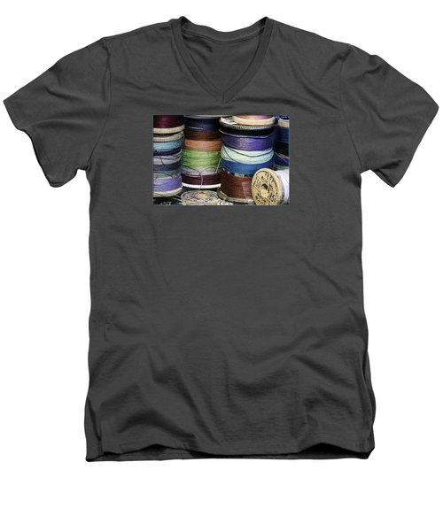 Spools Of Thread Men's V-Neck T-Shirt by Jean OKeeffe Macro Abundance Art