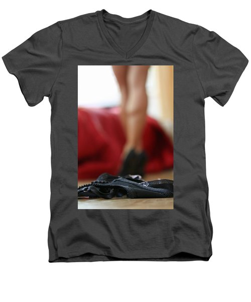 Men's V-Neck T-Shirt featuring the pyrography What's Next? by Shoal Hollingsworth