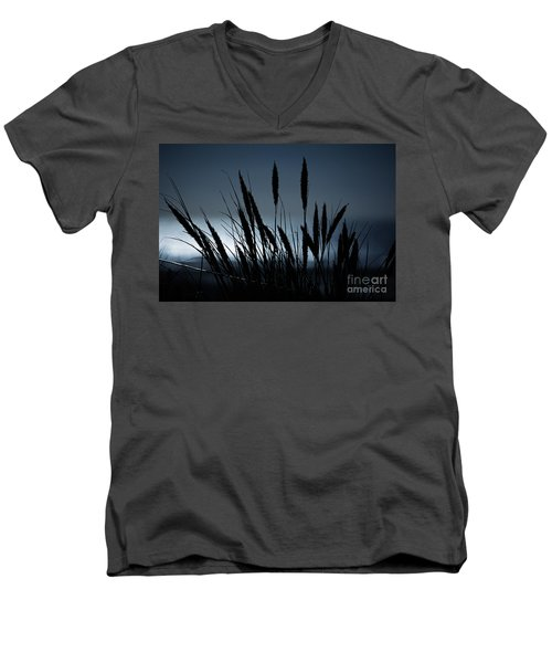 Wheat Stalks On A Dune At Moonlight Men's V-Neck T-Shirt