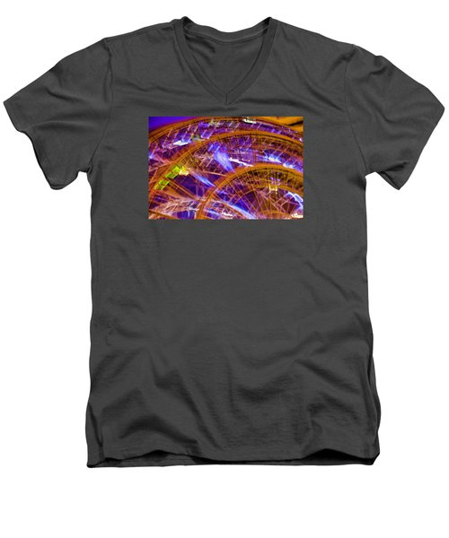 Men's V-Neck T-Shirt featuring the photograph Wheels by Michael Nowotny