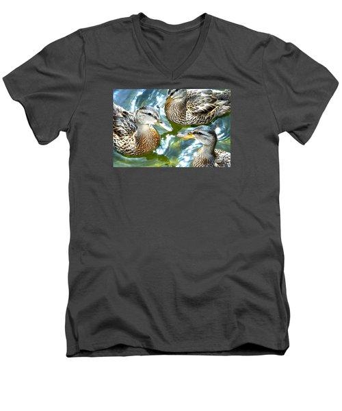 When Duck Bills Meet Men's V-Neck T-Shirt by Lesa Fine