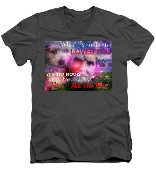 Men's V-Neck T-Shirt featuring the digital art When Somebody Loves You - 1 by Kathy Tarochione