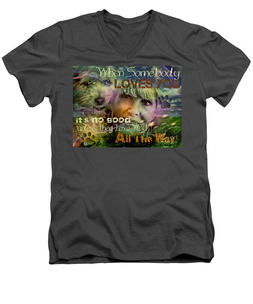 Men's V-Neck T-Shirt featuring the digital art When Somebody Loves You - 3 by Kathy Tarochione