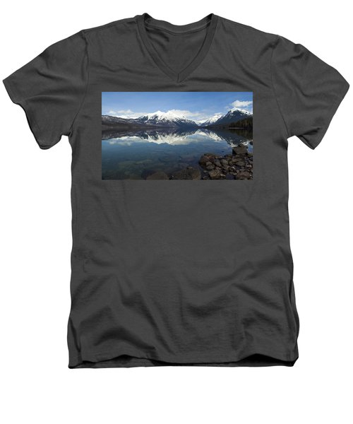 When The Sun Shines On Glacier National Park Men's V-Neck T-Shirt