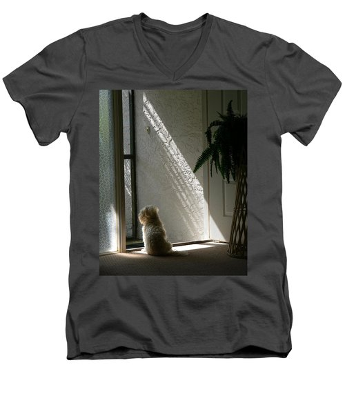 Men's V-Neck T-Shirt featuring the photograph Where's Dad by Rosalie Scanlon