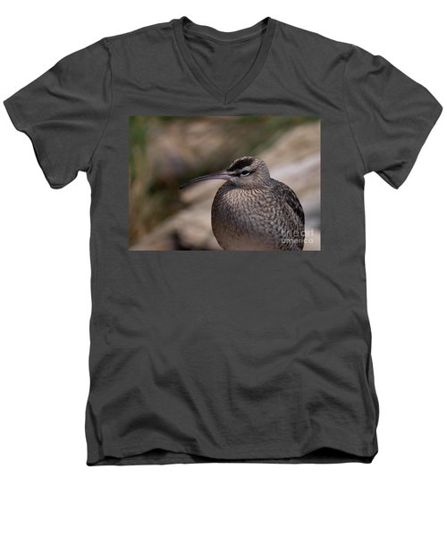 Men's V-Neck T-Shirt featuring the photograph Whimbrel by Bianca Nadeau