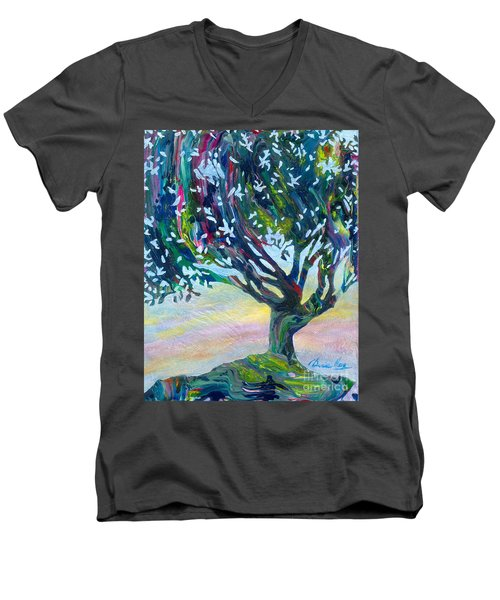 Whimsical Tree Pastel Sky Men's V-Neck T-Shirt by Denise Hoag