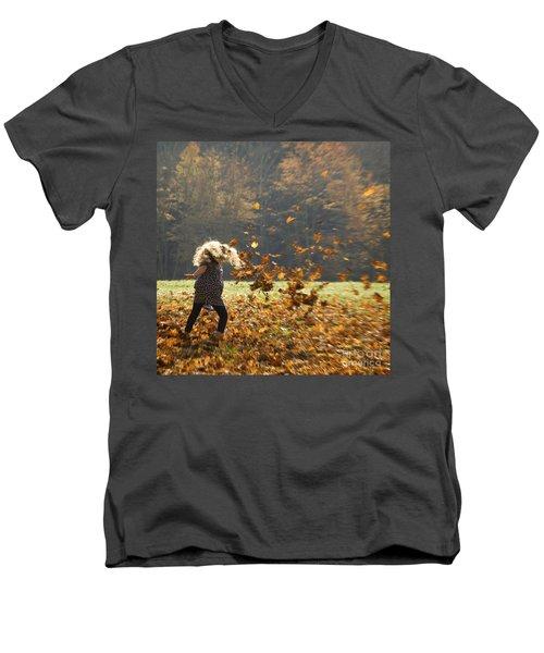 Whirling With Leaves Men's V-Neck T-Shirt by Carol Lynn Coronios