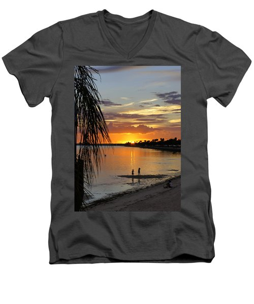 Men's V-Neck T-Shirt featuring the photograph Whiskey Joe's by Laurie Perry