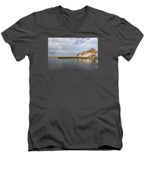 Men's V-Neck T-Shirt featuring the photograph Whitby Abbey N.e Yorkshire by Jean Walker