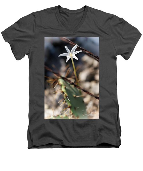 Men's V-Neck T-Shirt featuring the photograph White Cactus Flower by Erika Weber