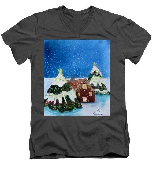 Christmasland Men's V-Neck T-Shirt by Joshua Maddison