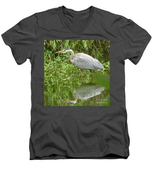 White Egret Double  Men's V-Neck T-Shirt by Susan Garren