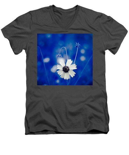 White Flower Men's V-Neck T-Shirt by Darryl Dalton