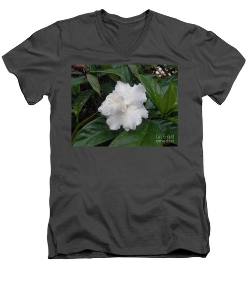 Men's V-Neck T-Shirt featuring the photograph White Flower by Sergey Lukashin