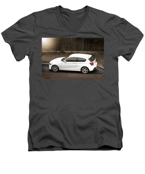 White Hatchback Car Men's V-Neck T-Shirt