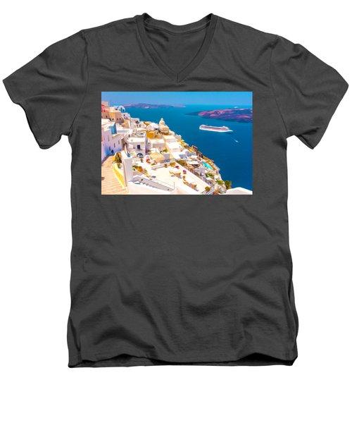 White Houses Of Santorini Men's V-Neck T-Shirt by Lanjee Chee