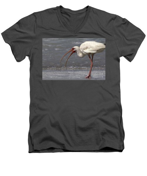 Men's V-Neck T-Shirt featuring the photograph White Ibis On The Beach by Meg Rousher