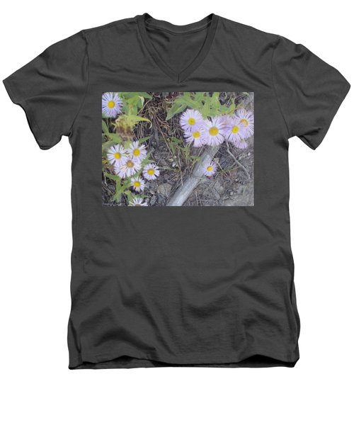 Men's V-Neck T-Shirt featuring the photograph White In The Wild by Fortunate Findings Shirley Dickerson