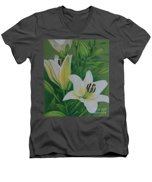Men's V-Neck T-Shirt featuring the painting White Lily by Pamela Clements