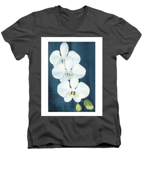 White Orchids Men's V-Neck T-Shirt by C Sitton