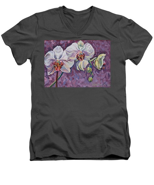 White Orchids Men's V-Neck T-Shirt