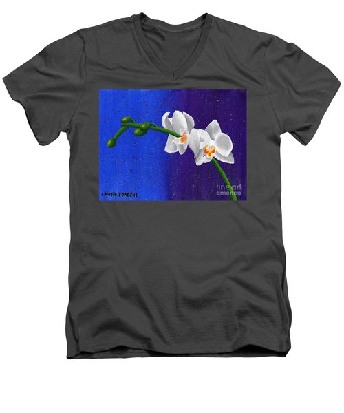 Men's V-Neck T-Shirt featuring the painting White Orchids by Laura Forde