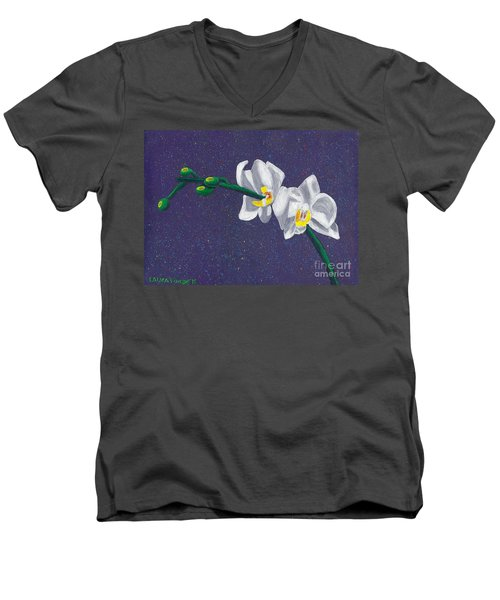 Men's V-Neck T-Shirt featuring the painting White Orchids On Dark Blue by Laura Forde