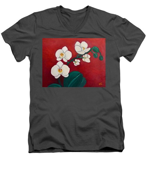 Men's V-Neck T-Shirt featuring the painting White Orchids by Victoria Lakes