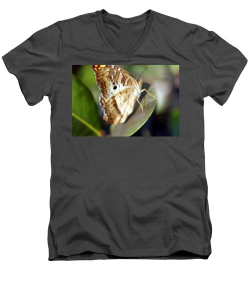 Men's V-Neck T-Shirt featuring the photograph White Peacock Butterfly by Greg Allore