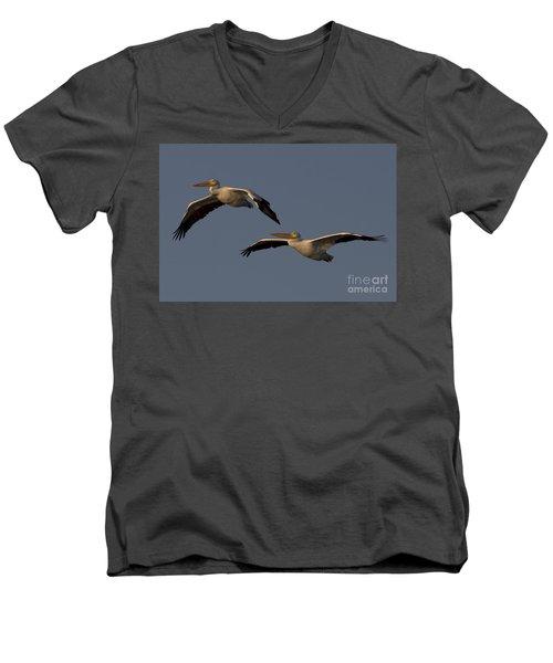 Men's V-Neck T-Shirt featuring the photograph White Pelican Photograph by Meg Rousher