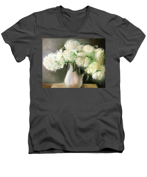 White Peonies Men's V-Neck T-Shirt