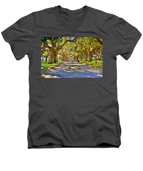 White Point Gardens At Battery Park Charleston Sc Hdr Men's V-Neck T-Shirt
