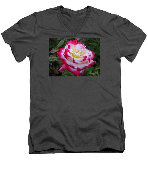 White Rose With Pink Texture Hybrid Men's V-Neck T-Shirt