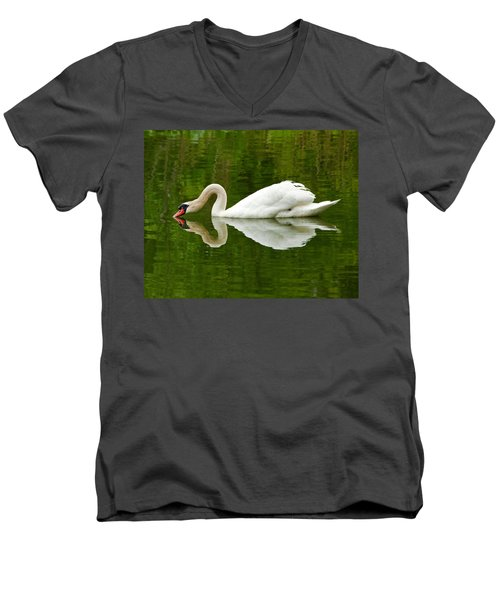Men's V-Neck T-Shirt featuring the photograph Graceful White Swan Heart  by Jerry Cowart