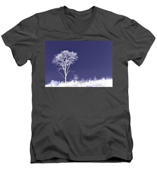 White Tree - Blue Sky - Silver Stars Men's V-Neck T-Shirt