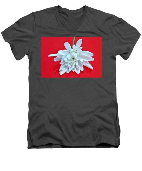 White Flower On Bright Red Background Men's V-Neck T-Shirt